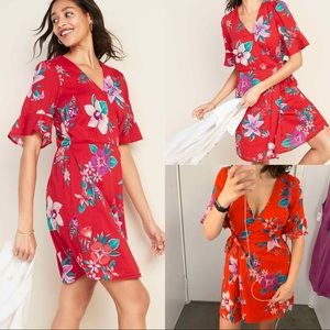 Old Navy red tropical floral wrap mini dress
